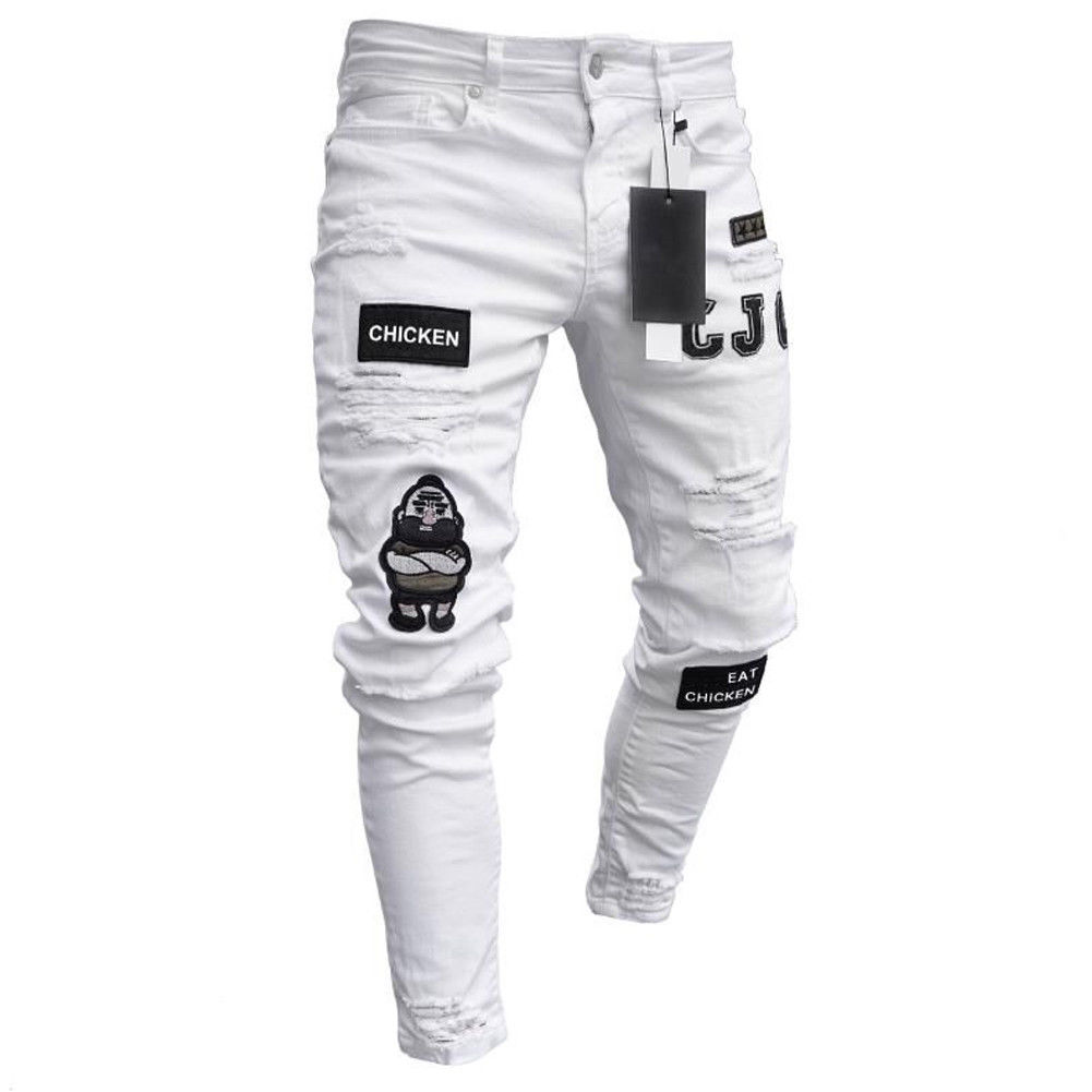 Styles Men Stretchy Ripped Skinny Biker Embroidery Print Jeans Destroyed Hole Taped Slim Fit Denim Scratched High Quality Jean distressed ripped slim fit jeans mens washed destroyed skinny denim pants fashionable streetwear blue hole biker jean for men