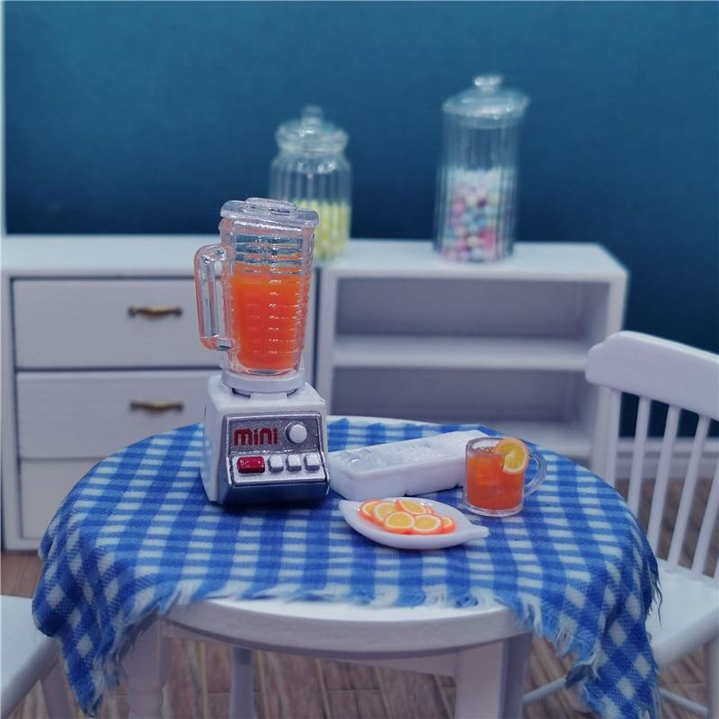 Casa de muñecas a escala 1/12, exprimidor en miniatura, comida de imitación...