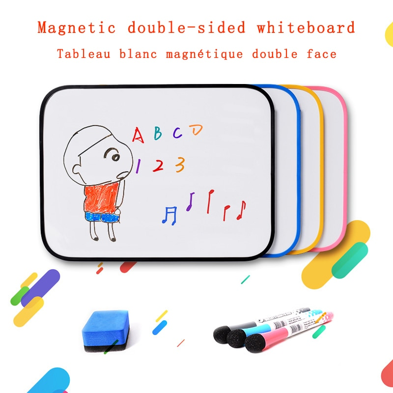 Magnetic Erasable Whiteboard Double Side Dry Erase Message Memo Writing for Kids A4 Size White Board Home Office School supplies
