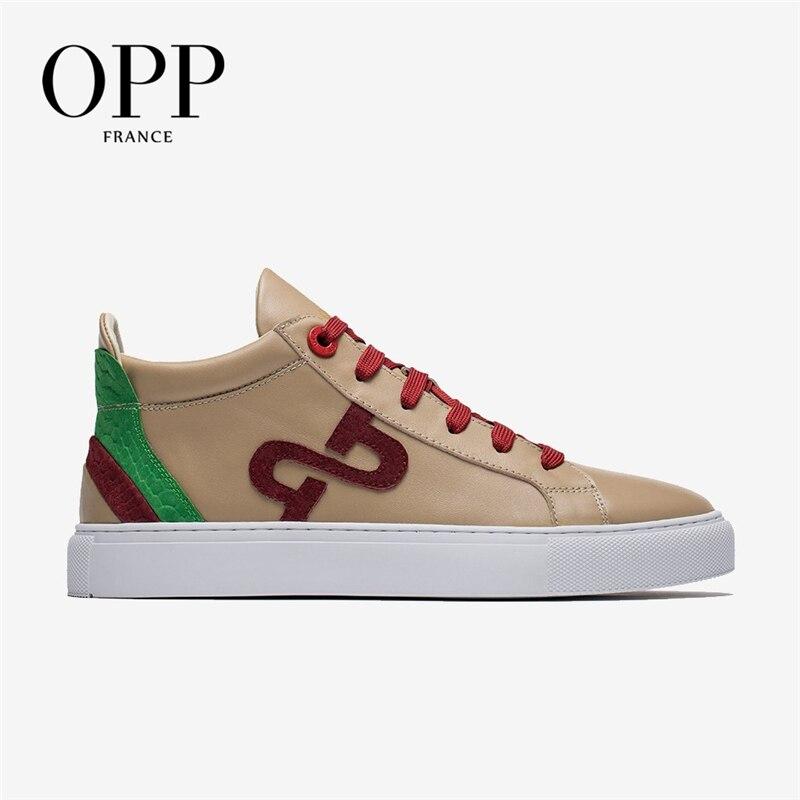 OPP-أحذية جلدية للرجال برباط علوي مسامي ، أحذية تزلج ، نمط حضري ، كاجوال