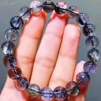 genuine natural brookite platinum silver rutilated quartz bracelet 9mm clear gemstone round beads woman aaaaaa