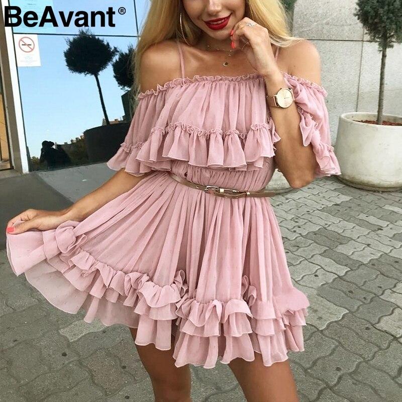 Женское шифоновое платье с открытыми плечами BeAvant, летнее Плиссированное короткое платье розового цвета, свободное пляжное мини-платье