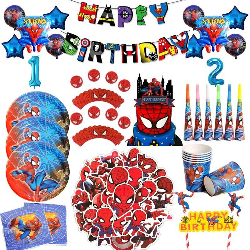 decoracion-de-fiesta-de-cumpleanos-de-spiderman-vajilla-desechable-servilletas-platos-mantel-tazas-globos-spider-boy-suministros-de-bano-para-bebe