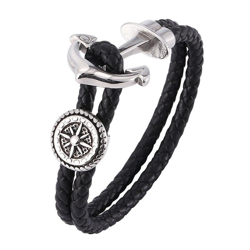 Pulsera de ancla de moda con personalidad de cuero para hombres y mujeres, ancla negra con cuerda con gancho, pulsera y brazalete Unisex de acero inoxidable BB0183