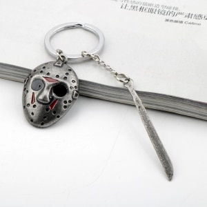 Fashion Movie Friday The 13th Jason Hockey Mask Machete Metal Pendant Keychains Keyrings For Women Men Fans Cosplay Jewelry Gift
