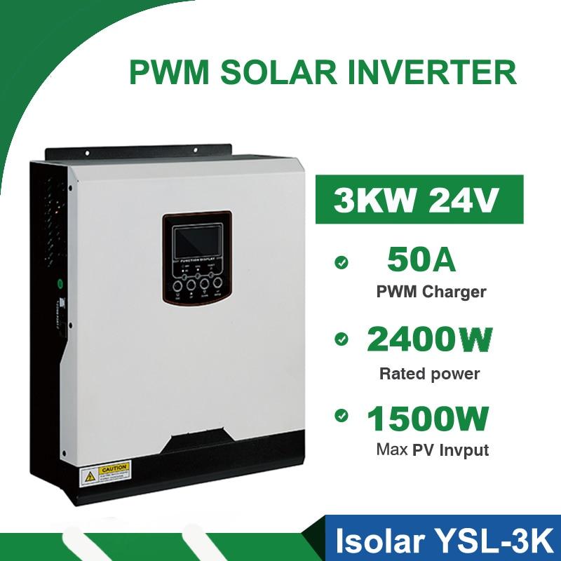 3kva الشمسية العاكس 3000 واط 24 فولت 230VAC 50 هرتز/60 هرتز الهجين Inversor نقية شرط موجة PWM شاحن بطارية العاكس