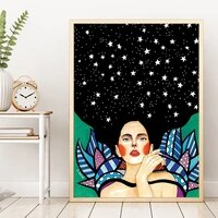 manga canvas painting cute girl with flower oil painting figure poster and printing wall art picture for children room decor