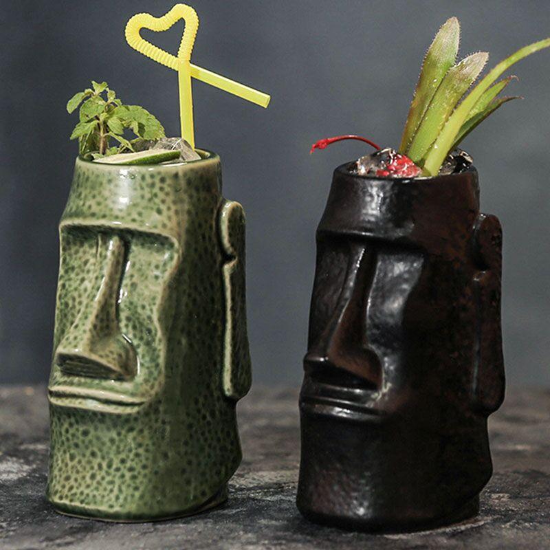 1 قطعة ستارك الشكل تيكي كوكتيل هاواي كوب سيراميك Tiki القدح القهوة القدح القهوة القدح مع غطاء