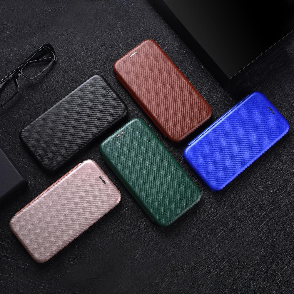 Carbon Fiber Flip Magnetic Leather Case For UMIDIGI A7S A9 Power 3 F2 A3S A3X A7 S5 Pro Card Holder Phone Case Cover Coque