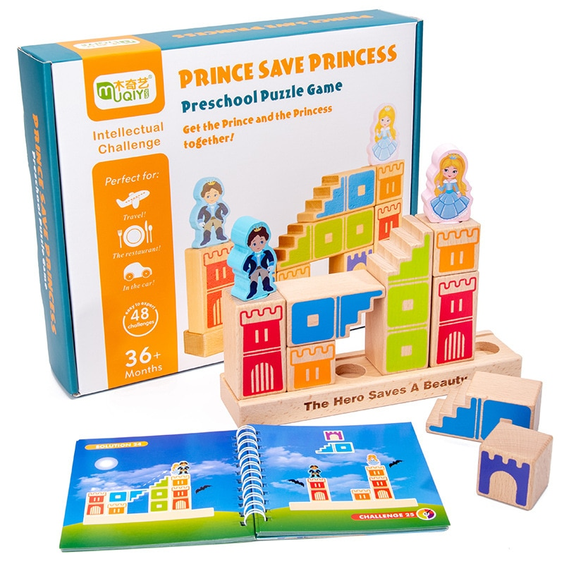 مونتيسوري كاميلوت ألعاب مكعبات البناء الخشبية الأمير حفظ الأميرة ألعاب تعليمية للأطفال لغز ثلاثية الأبعاد هدايا عيد الميلاد