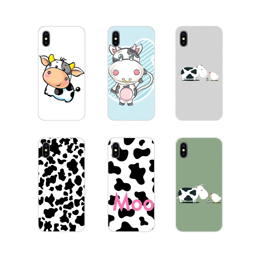Animais Vaca Bonito Acessórios Do Telefone Shell Capas Para iPhone Da Apple X XR XS MAX 4 4S 5 5S 5C SE 7 8 6 6S Plus ipod touch 5 6