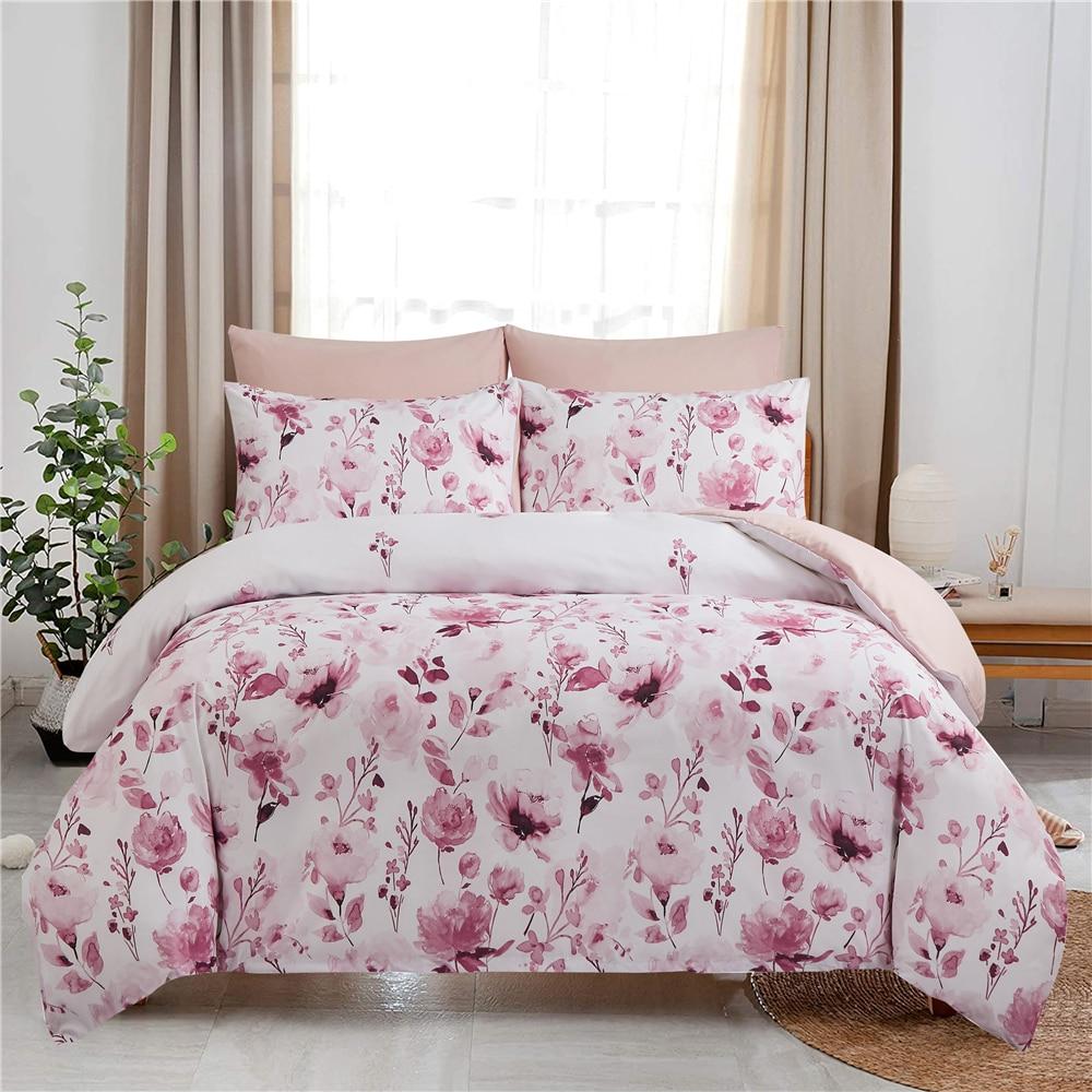 2/3 قطعة غطاء لحاف الوردي/الأزرق الزهور غطاء السرير المخدة للكبار المنسوجات المنزلية 200x220 حاف الغطاء الملكة طقم فرش أسرة كينج سايز