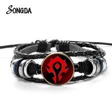 Nouveau monde de Warcraft jeu Bracelet en cuir WOW rouge Alliance Badge verre Cabochon Bracelets en cuir Bracelet pour hommes femmes