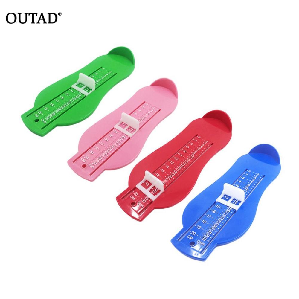 OUTAD-Herramienta de medida de pies ABS para cuidado de bebés y niños, medidor de regla de medición de tamaño de zapatos, herramientas de 0-20cm, 4 colores