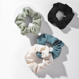 ZFYIN 2020 Fall Winter Solid Color Donut Fabric Ponytail Holder Hair Scrunchies Pack for Women