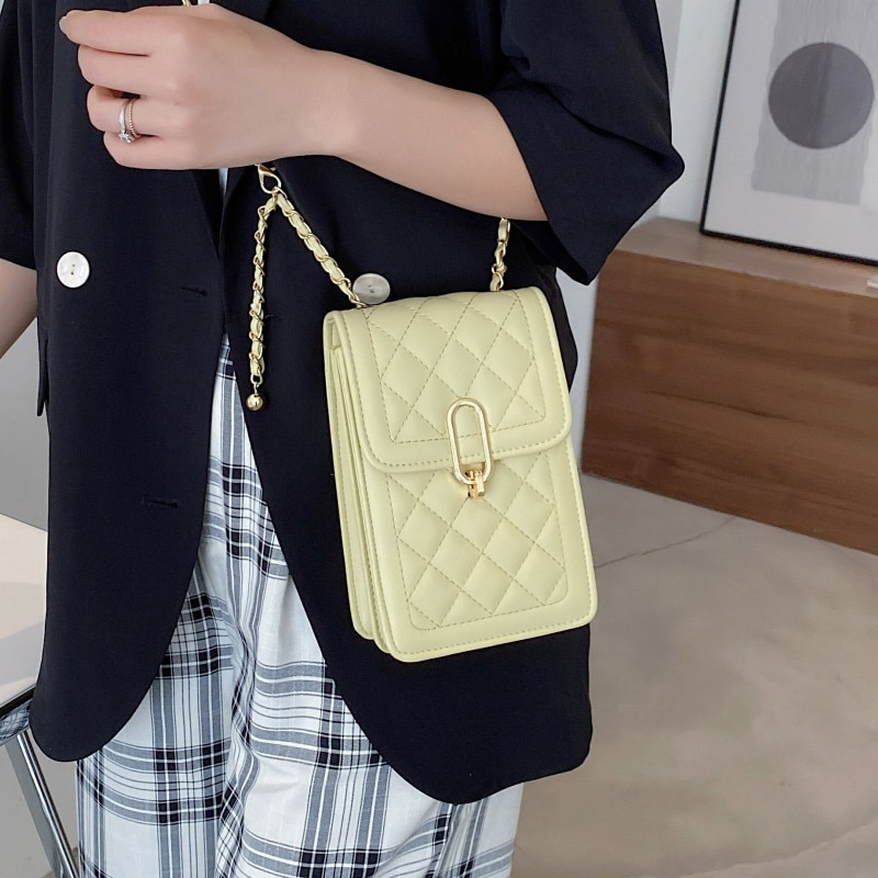 Diamond Lattice Women Phone Shaped Bag Chain Quilted Shoulder Bags Luxury Leather Crossbody Bag Female Small Flap Messenger Bags