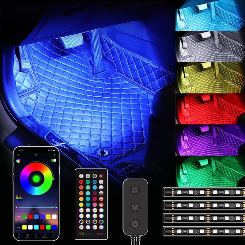 48/72 LED Interior Car Lightings Strip USB App Remote Control Ambient Lamp Multiple DIY Modes Under Dash Decorative Lights