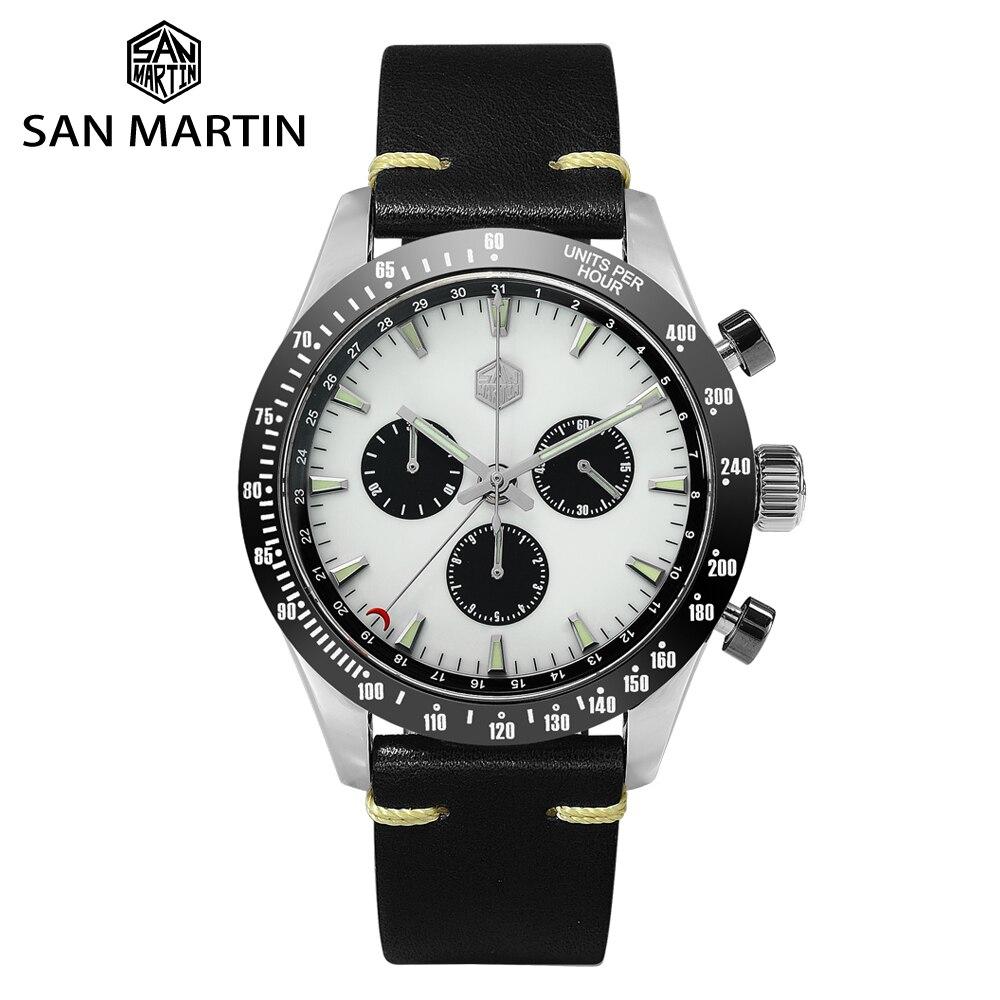 سان مارتن كوارتز ساعة كرونوغراف سويسري روندا 5040F الفولاذ المقاوم للصدأ الرجال الياقوت السيراميك الحافة جلدية مضيئة مقاوم للماء