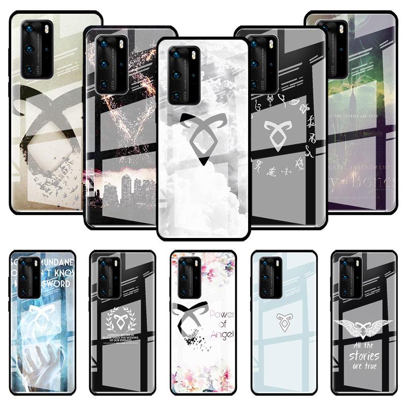 Los cazadores de sombras de vidrio para Huawei P20 P40 Lite E P30 Pro P Smart 2019 Mate 10 20 X Stalinite de cubierta del teléfono Capas