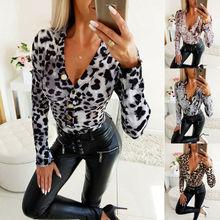 Women Long Sleeve V Neck Blouse Autumn Snake Skin Leopard Printing Tops Bodycon Blouse Slim Stretch Tops Blouses Female Blusas