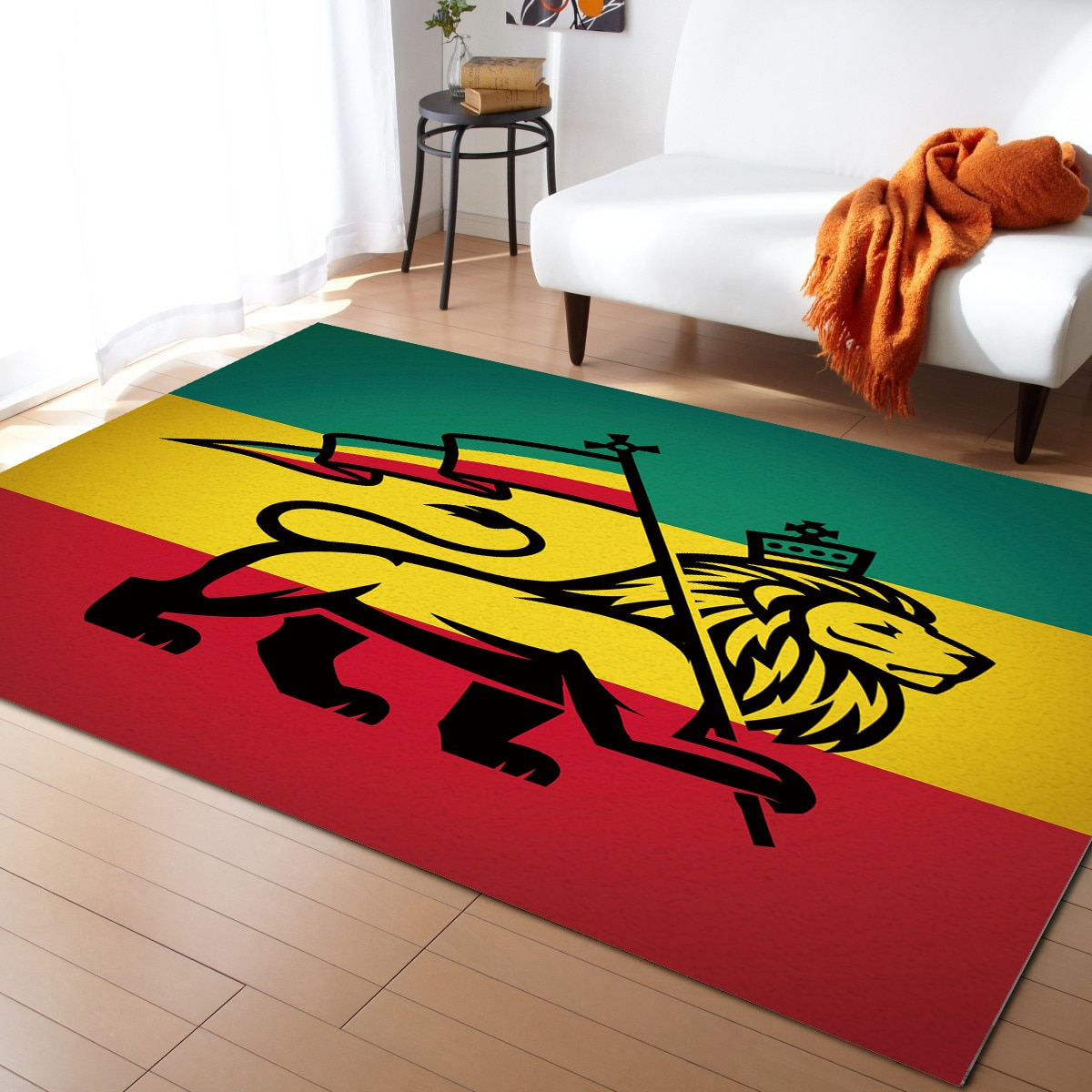 سجادة علم الأسد الأفريقي باللون الأخضر والأصفر والأحمر ، ديكور غرفة النوم ، بطانية بجانب السرير