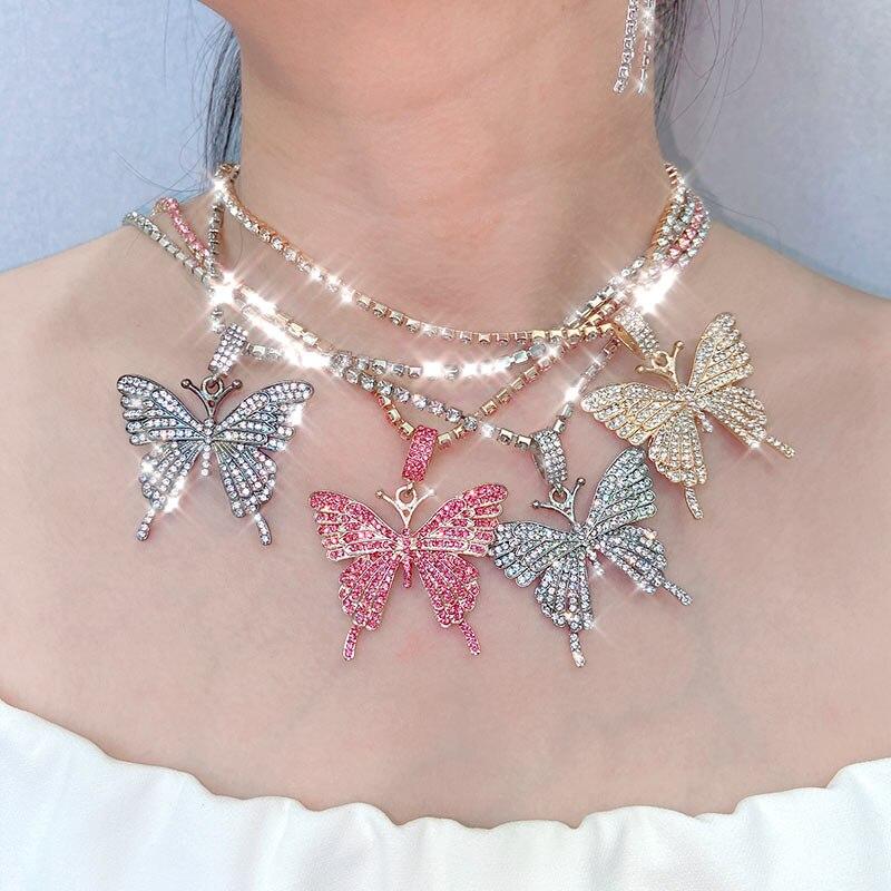 JJFOUCS collar de cadena de diamantes de imitación Rosa mariposa blanca collar de cristal colgante para las mujeres de moda Bohemia joyas brillantes regalo