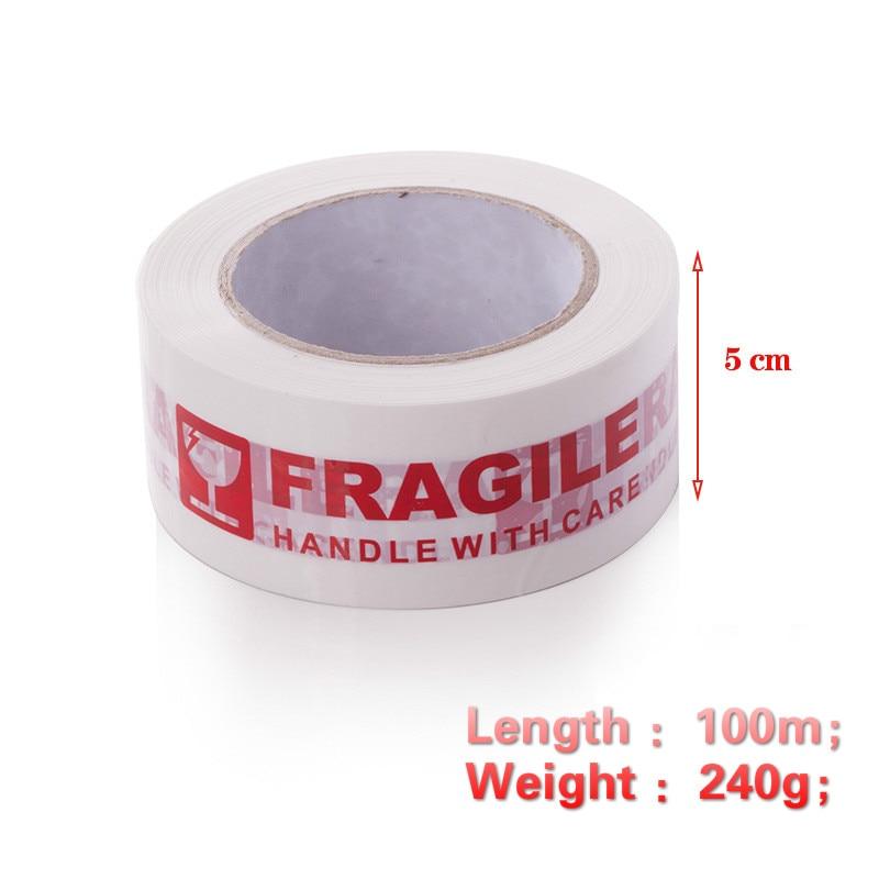 5cm*100m White FRAGILE Packing Tape Warning Bopp Fragile Tape Used for Warning and Packing Office and School Supplies