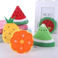 soft plush watermelon orange fruit women coin purse mini cute oval zipper children girl coin wallet usb cable headset bag