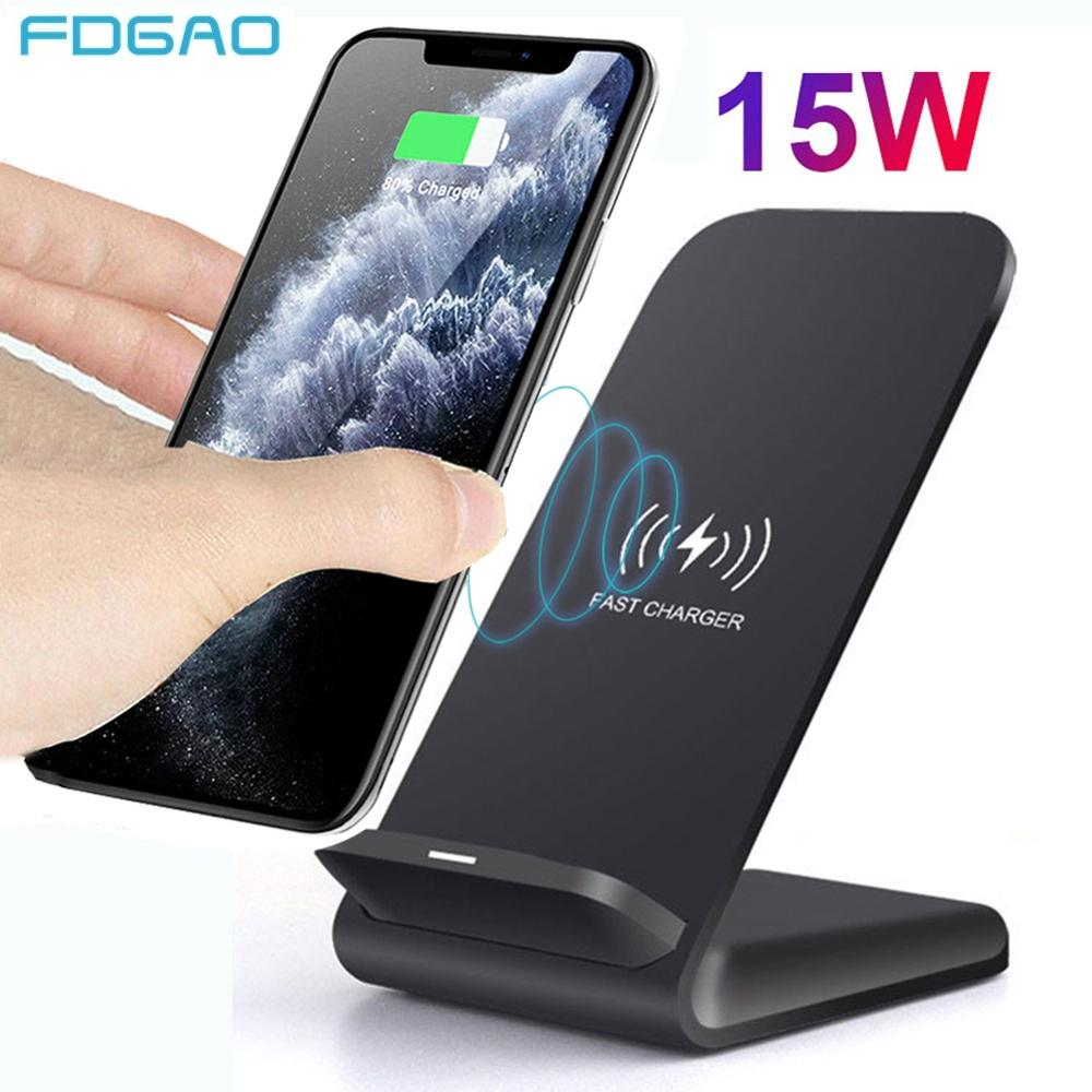 15W Qi Wireless Charger Stand For iPhone 12 11 Pro XS MAX XR X 8 Samsung S21 S20 S10 S9 Fast Chargin