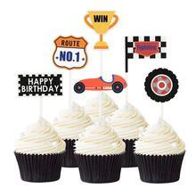 Décoration de gâteau en forme de trophée   Drapeau de course créative à carreaux, garniture de gâteau, gâteau danniversaire, garniture de Cupcake, pics de gâteau, décoration de fête de 36 pièces