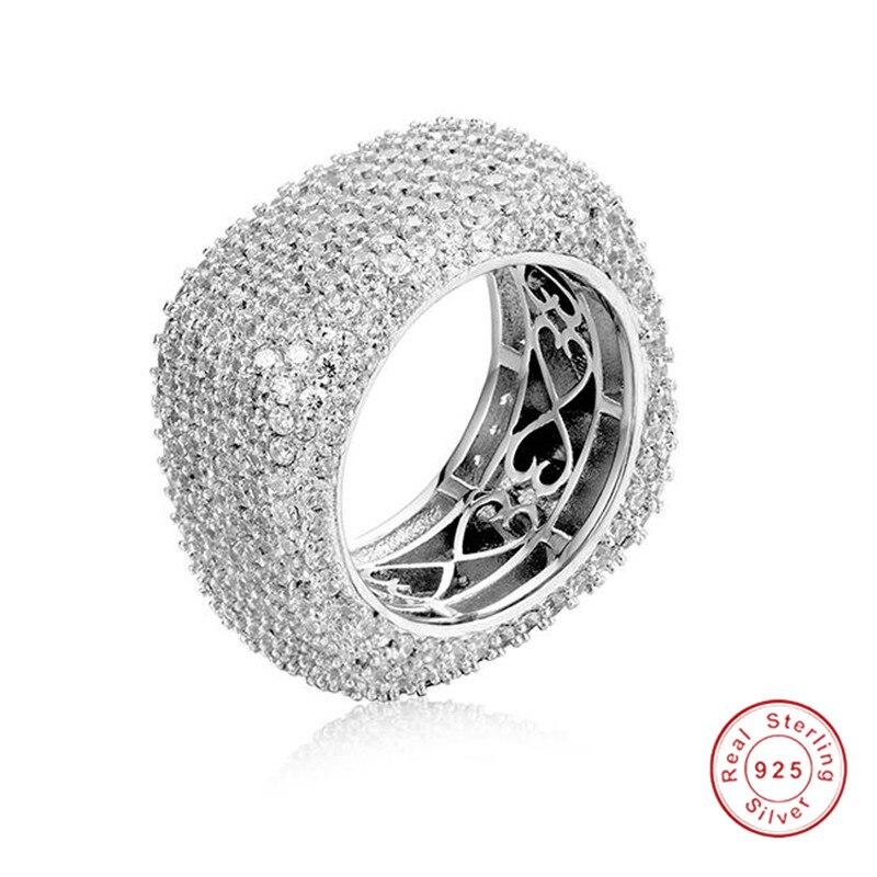 925 anillos de plata esterlina de lujo para mujer brillante cuadrado pavé completo 420 Uds diamante simulado platino cóctel anillo joyería regalo