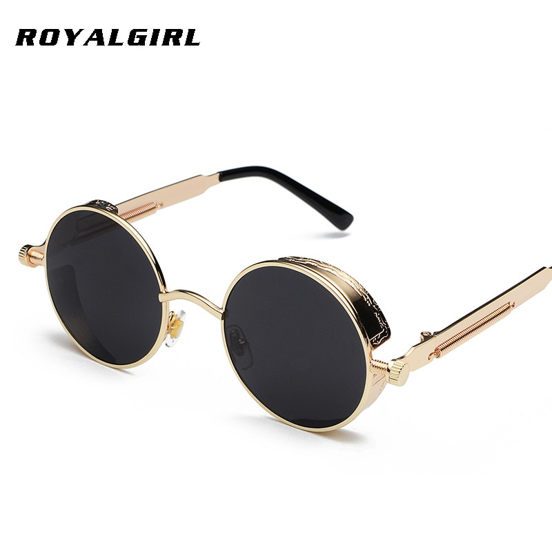 ROYAL GIRL Steampunk  Round Sunglasses Men Coating Mirrored  Retro Vintage Sun Glasses Women Unisex