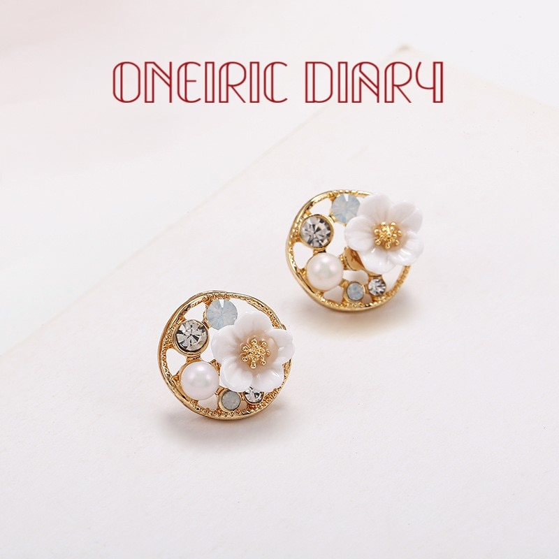 ONEIRIC DIARY Flower Earrings Pearl And Rhinestone For Women Vintage Court Style Stud