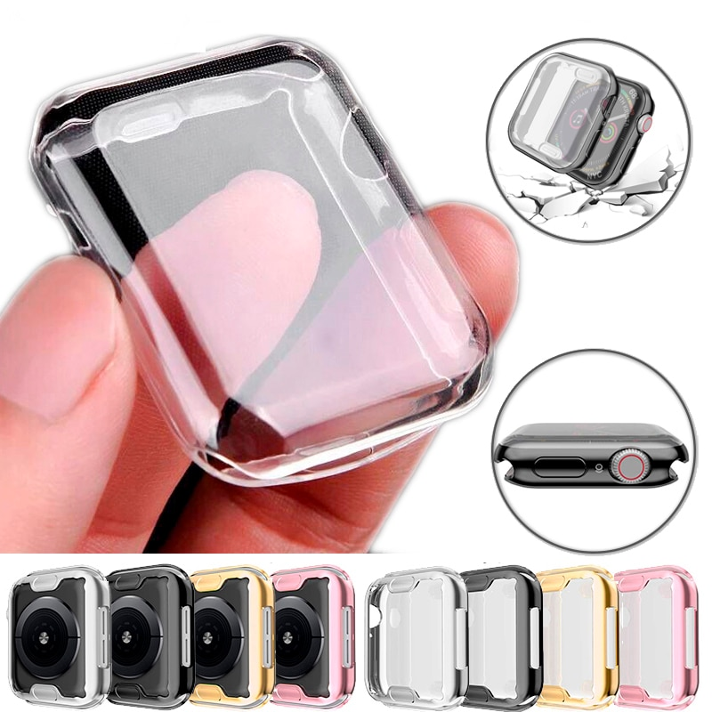 slim watch 360 cover for apple watch case 5 4 42mm 38mm soft clear tpu screen protector for iwatch 3 2 1 44mm 40mm accessories Transparent Cover for Apple Watch Series 3 2 1 38MM 42MM 360 Full Soft Clear TPU Screen Protector Case for iWatch 4/5 44MM 40MM