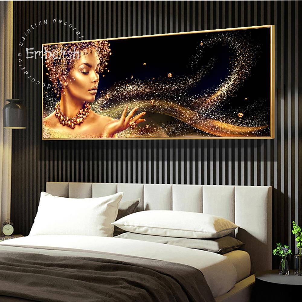 Incrustar 1 pieza negro y dorado africano desnudo mujer Cuadros pared Posters Para sala de estar HD lienzo pintura hogar obras de decoración