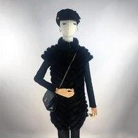 real mink fur vest women 2021 fur coat women sleeveless jacket zipper stand collar winter warm sleeveless vest genuine leather