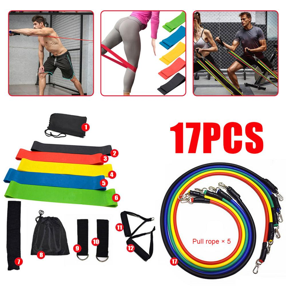 17-Piece Multi-Function Sports Rally Suit Yoga Rally Rope Fitness Training Rally Belt Elastic Rope Rally Resistance Rally Ring