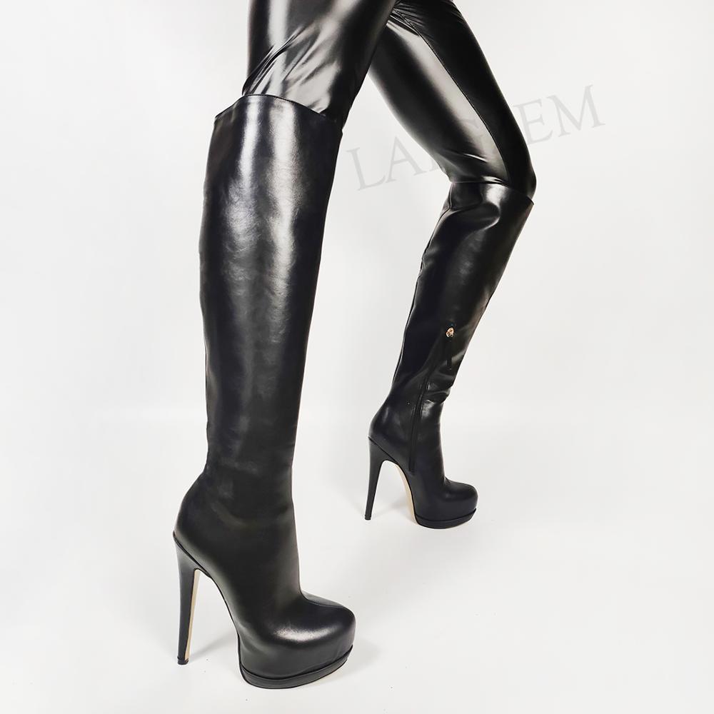 SEIIHEM-حذاء نسائي بكعب عالٍ يصل إلى الركبة ، حذاء بكعب خنجر ، حذاء بسحاب ، مقاس كبير 43 44 46 47 50 52
