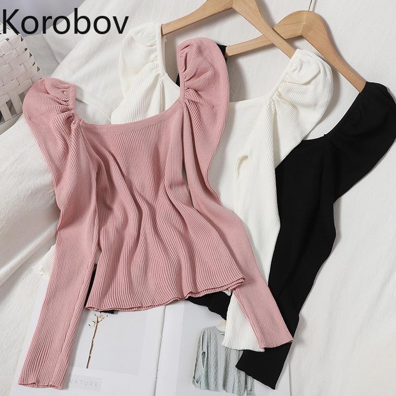 Korobov Preppy Style doux femmes manches bouffantes chandails pulls 2020 nouveau Chic Sueter Mujer coréen élégant col carré pull