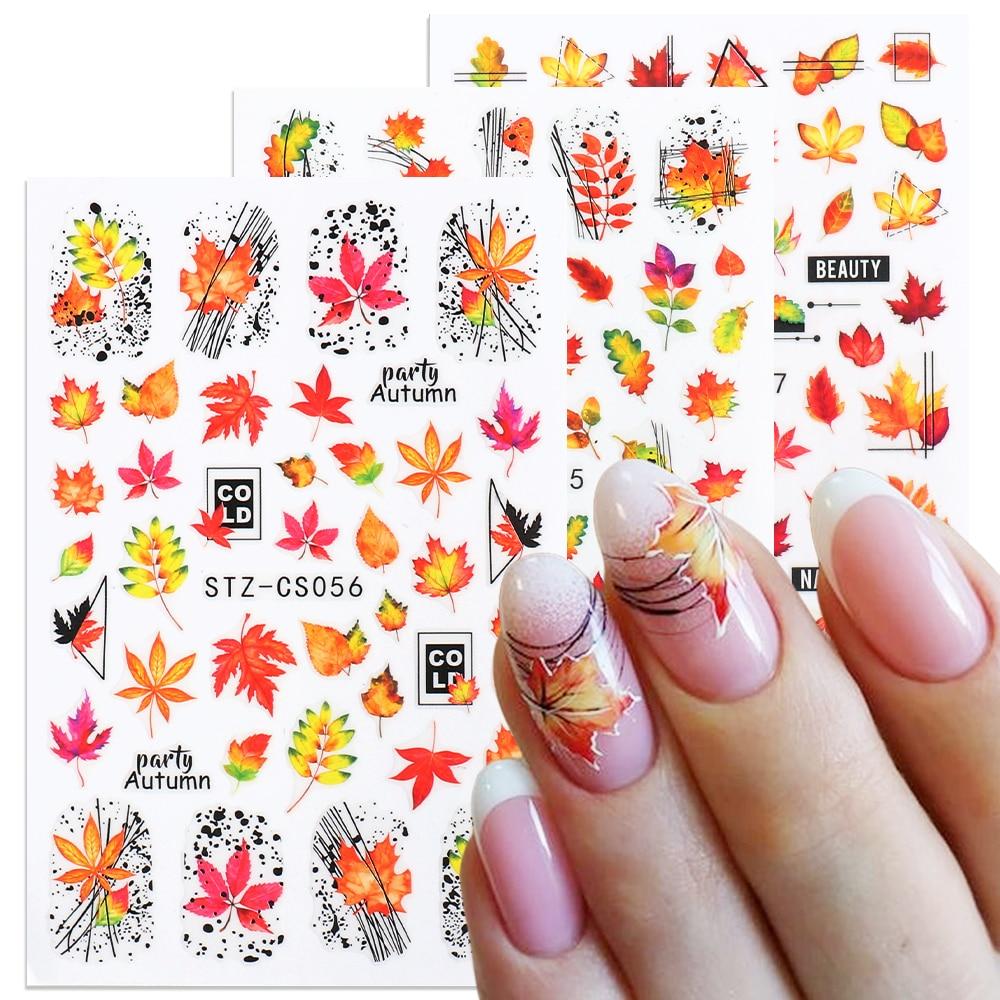 1 шт., 3D наклейки для ногтей, кленовые листья с паутинными лентами, Осенние маникюрные наклейки, сделай сам, осенний декор для ногтей, слайдеры, LACS055-057