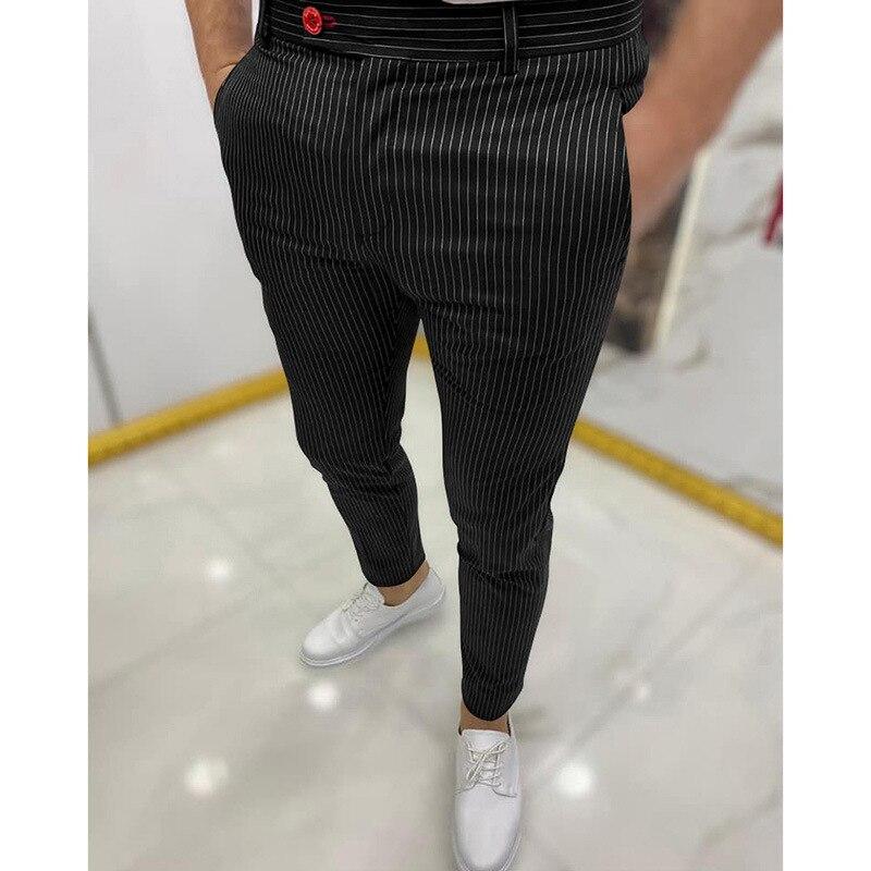 Мужские брюки 2021, Осенние тонкие повседневные брюки в полоску, Молодежные трендовые однотонные брюки, брюки-карандаш, брюки, Костюмные брюк...