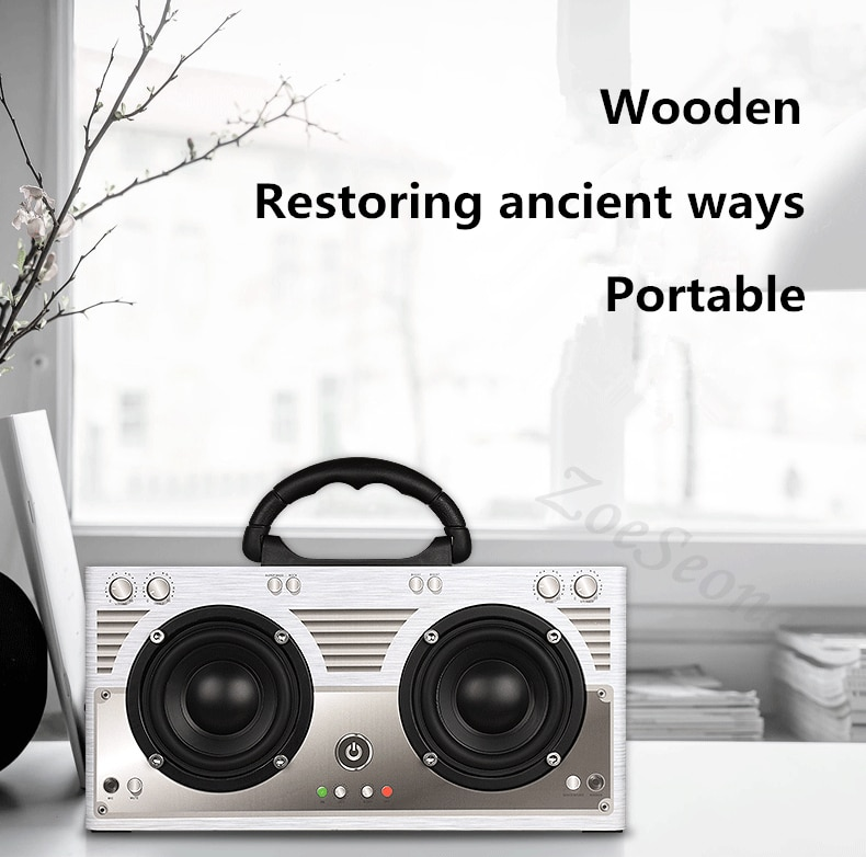 Portable Vintage Wooden Wireless Bluetooth V4.2 Speaker Super Bass Soundbar for Aux FM Auxiliary 3.5mm PC phone microphone enlarge