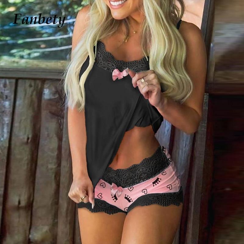 Women  Pajamas Sets 2020 Elegant Lace V-Neck Pajama Sleeveless Sweet Pink Suits Ladies Fashion Home Printing Sleepwear Suit