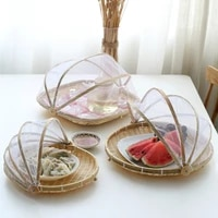 chinese style handmade drying basket household bamboo basket dust pan storage fruit cover farm bamboo products sieve food cover
