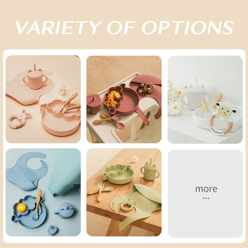 Baby Silicone Feeding Tableware Sets with Exquisite Box Food Grade Non-Slip Crockery BPA Free Feeding Sets for Baby Birth Gifts enlarge