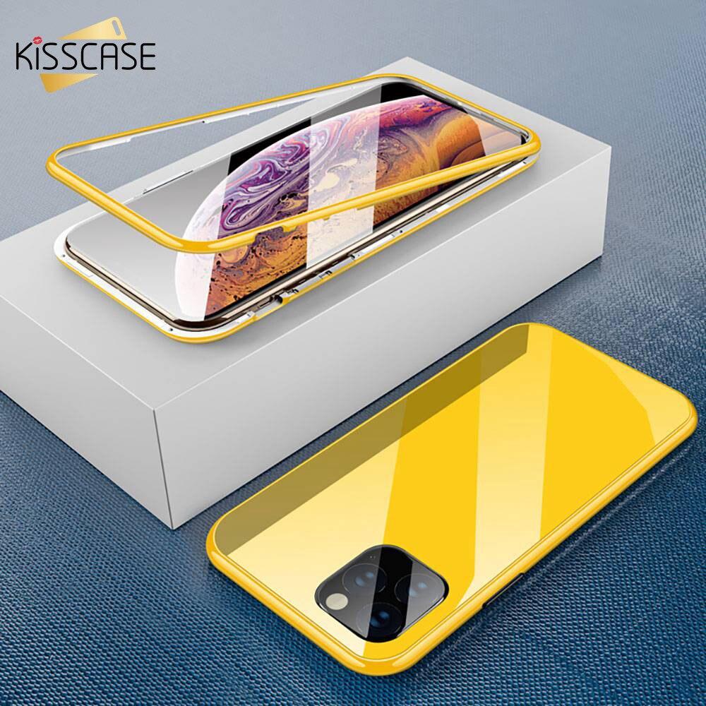 KISSCASE Magnetische Fall Für iPhone X 7 8 7plus 8plus 11 Pro Max XR XS MAX 11 XS fall HD Gehärtetem Glas Magnet Telefon Fall PC Abdeckung
