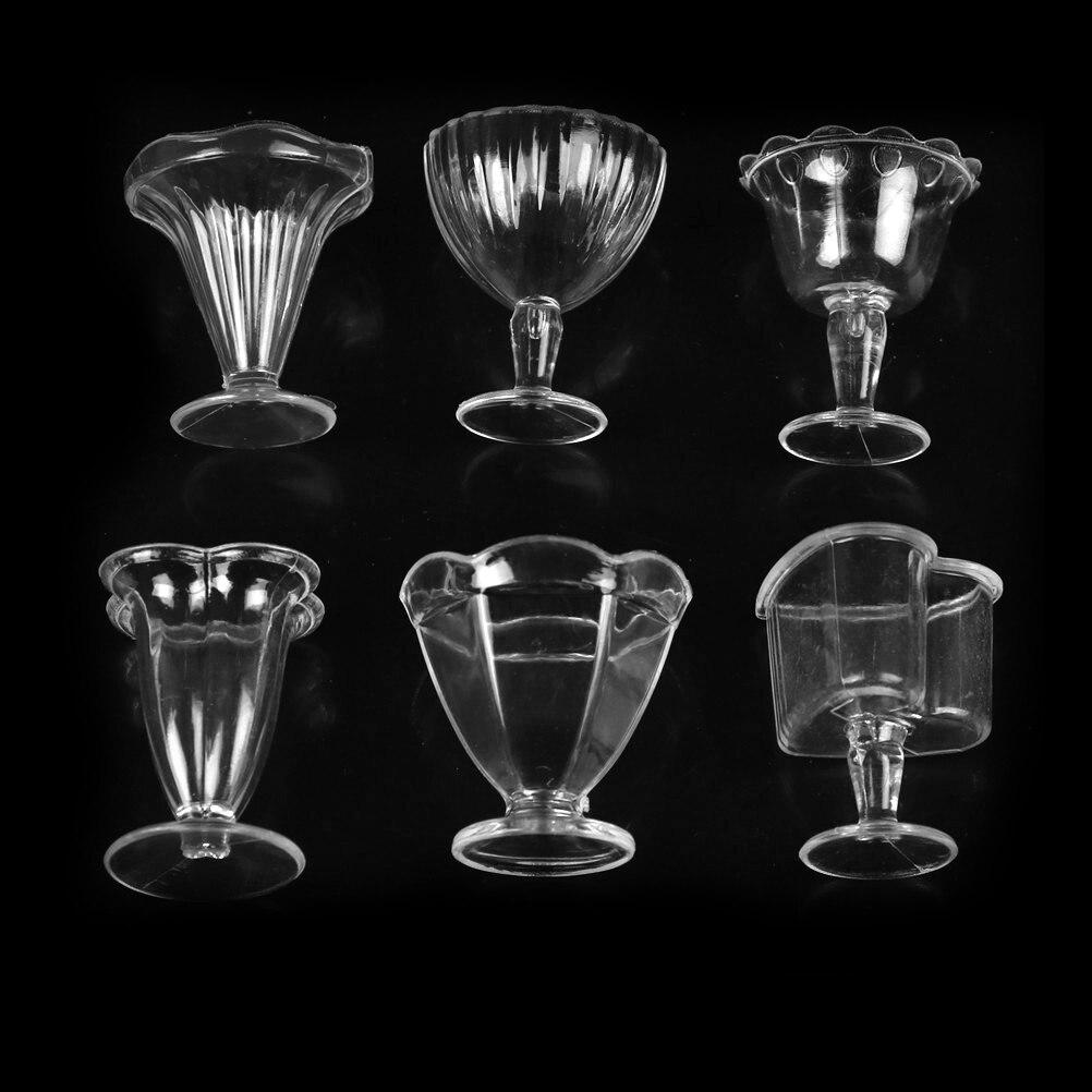 6 шт. прозрачная мини-чашка для вина, чашка для мороженого, миниатюрные чашки для кукольного домика 112, прозрачная пластиковая мини-чашка, ку...