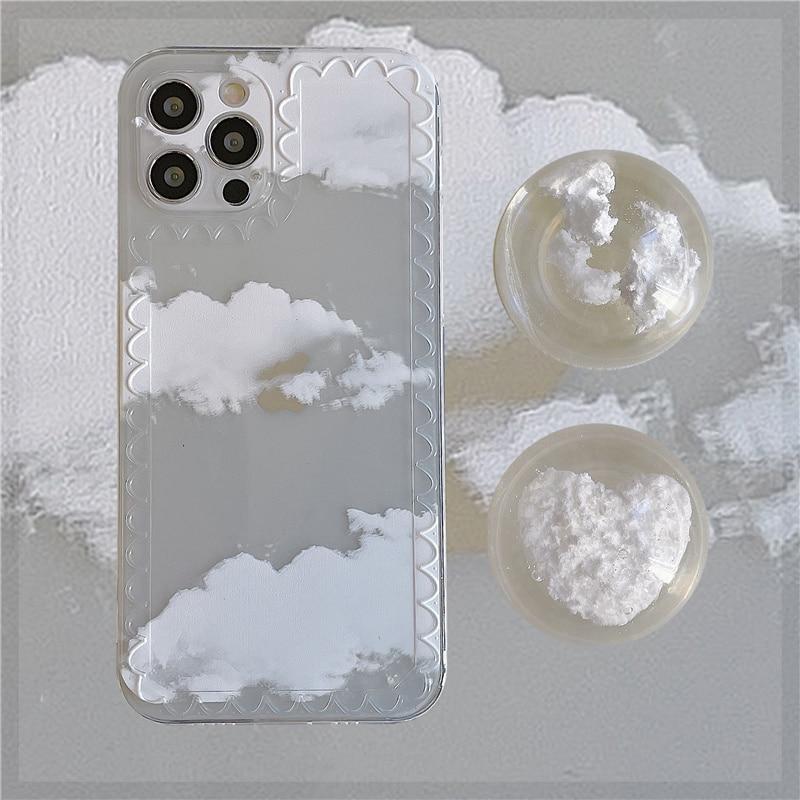 Funda de telfono con soporte de nubes de cristal funda de silicona...