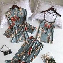 New 3 Pieces Pyjama Set 2020 Women Spring Summer Sexy Silk Pajamas Sets Satin Sleep Suit Cute Nightwear Home Clothes Sleepwear