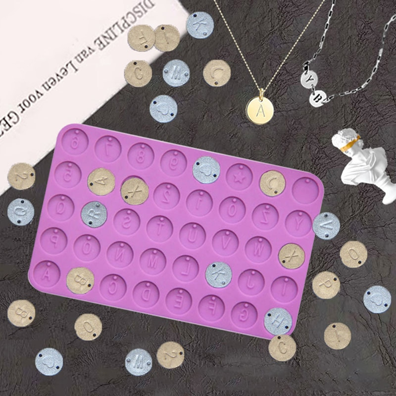 DIY Letter Number Round Discs Mold Jewelry Initial Letter Round Resin Mould